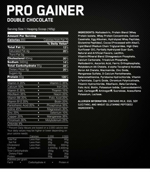 optimum-nutrition-pro-gainer-liste-ingredients
